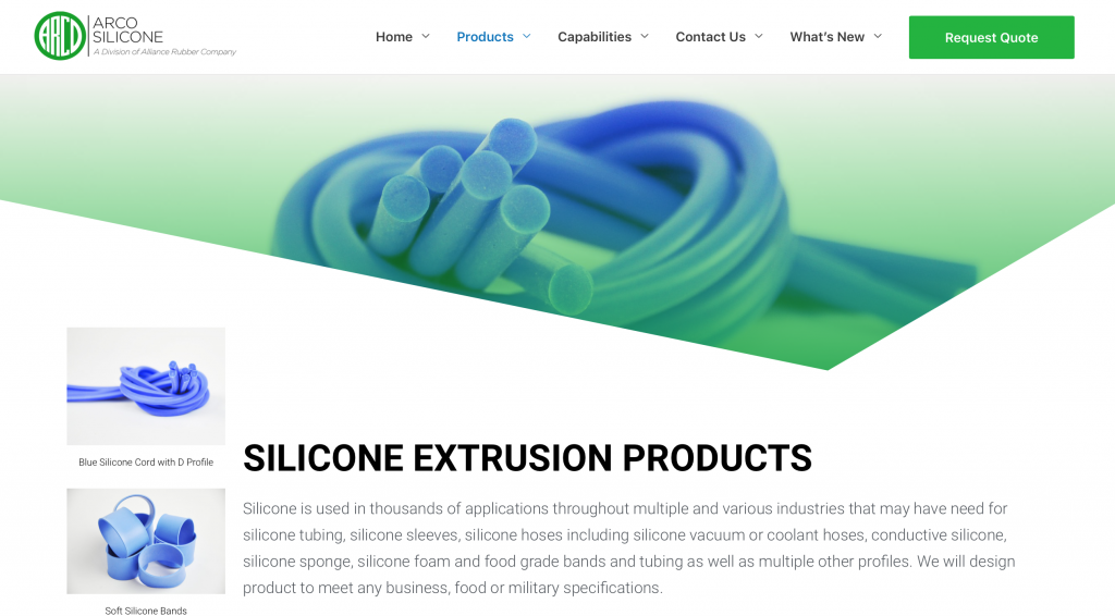 custom silicone extrusion